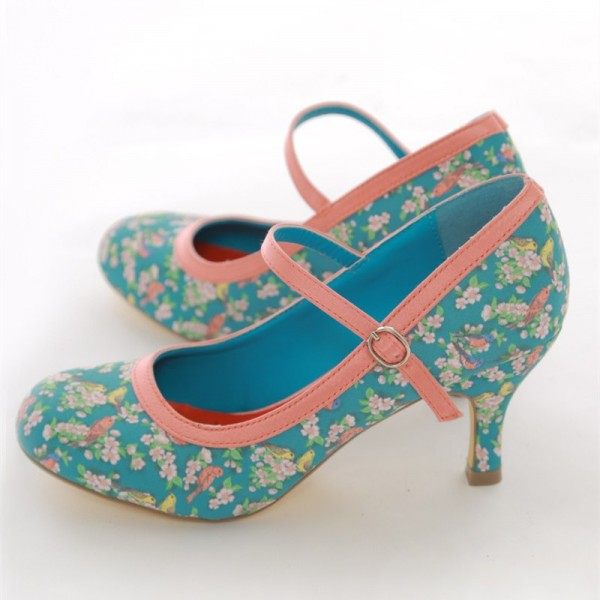Birds and Flowers Floral Heels Mary Jane Pumps image 1