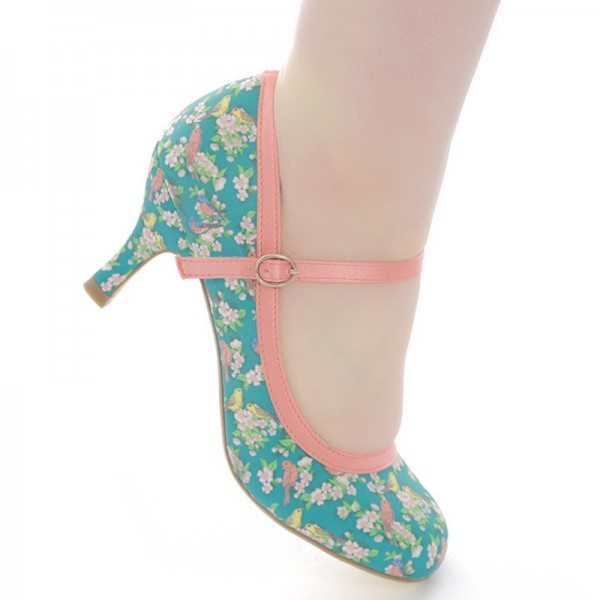 Birds and Flowers Floral Heels Mary Jane Pumps image 5