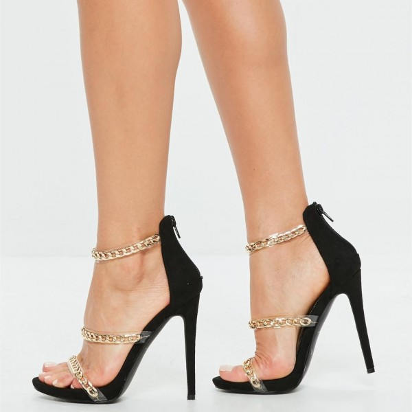 Gold Chain Ankle Strap Heels