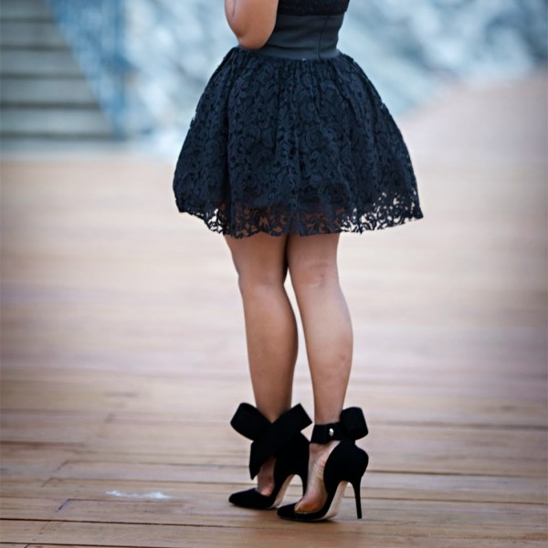 Black Side Bow Heels Closed Toe Stiletto Heel Suede Pumps image 5