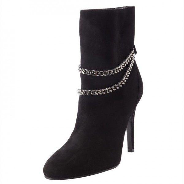 Black 4 Inches Stiletto Boots Suede Ankle Booties with Metal Chain image 1