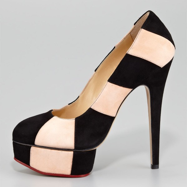 Black and Beige Stripes Platform Heels Stilettos Suede Pumps image 1