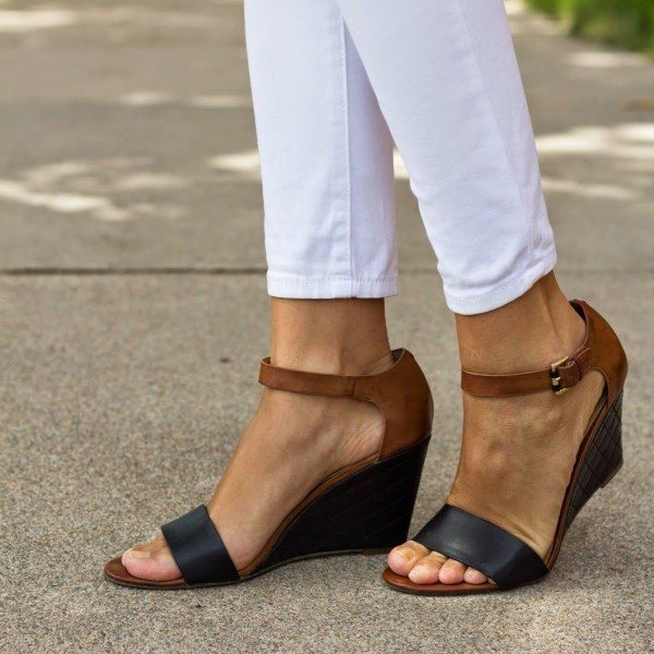 Black and Brown Ankle Strap Wedge Sandals  image 1