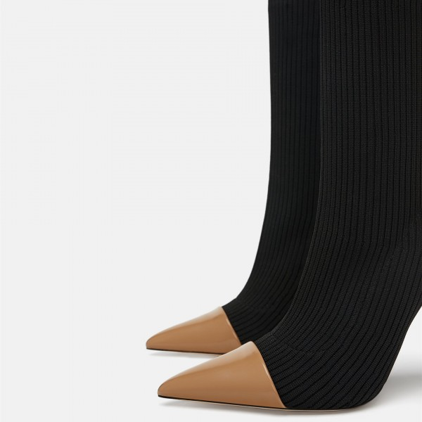 Black and Tan Sock Boots Pointy Toe Stiletto Heel Fashion Booties image 5