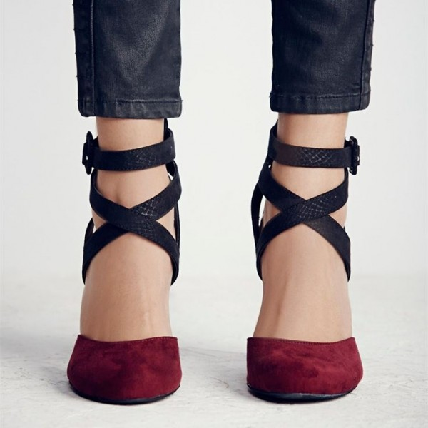 T Strap Shoes Closed Toe Pointy Mid Heels