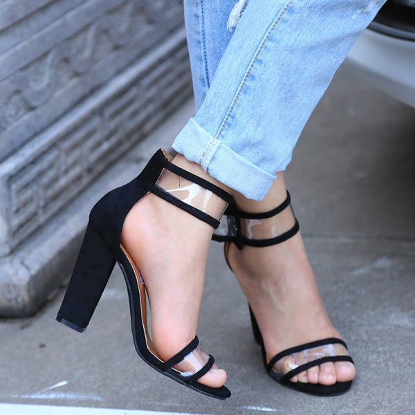 Black Ankle Strap Sandals Clear Open Toe Block Heels image 2