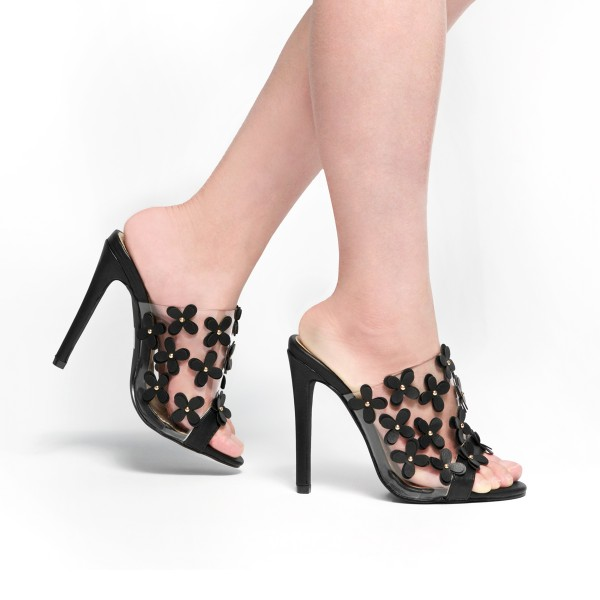 Black and Clear Mule Heels Open Toe Stiletto Heels with Blossom image 2