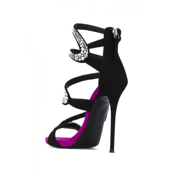 Black Rhinestone Heels Suede Evening Shoes Stiletto Heel Sandals image 2