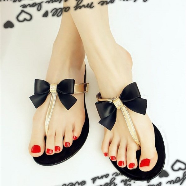 Black and Gold Cute Sandals Flat Beach Flip Flops with Bow image 1