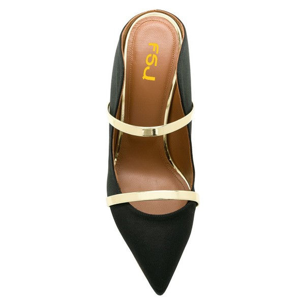 Black and Gold Double Straps Stiletto Heel Mules image 2