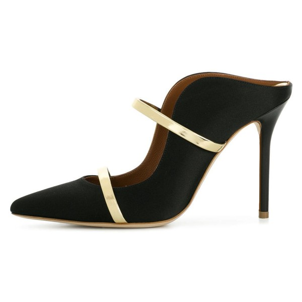 Black and Gold Double Straps Stiletto Heel Mules image 3