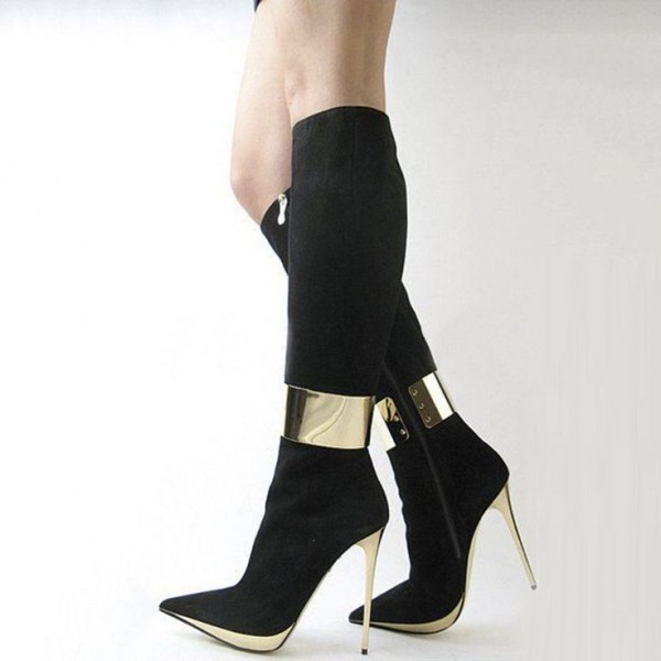 Black and Gold Knee Boots Pointy Toe Stiletto Heel Suede Boots image 1