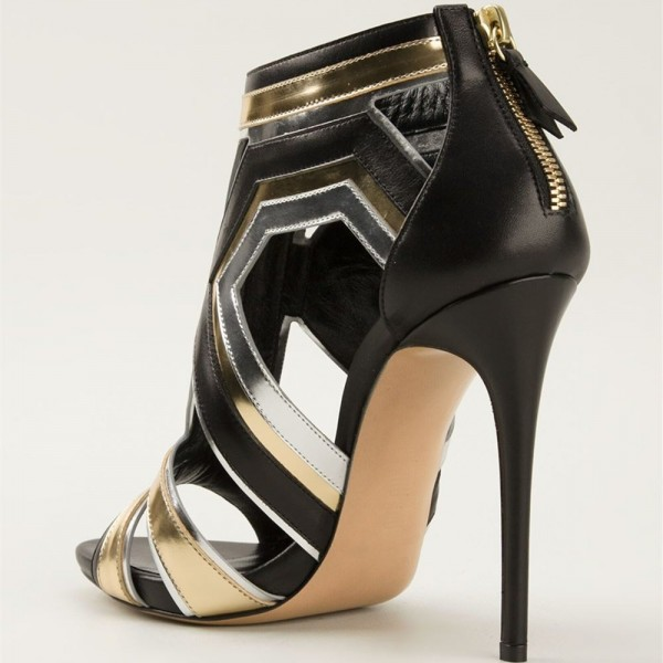 b25ead7d03c ... Gold and Silver Stiletto Heels Open Toe Cutout Sandals For Women image  3 ...