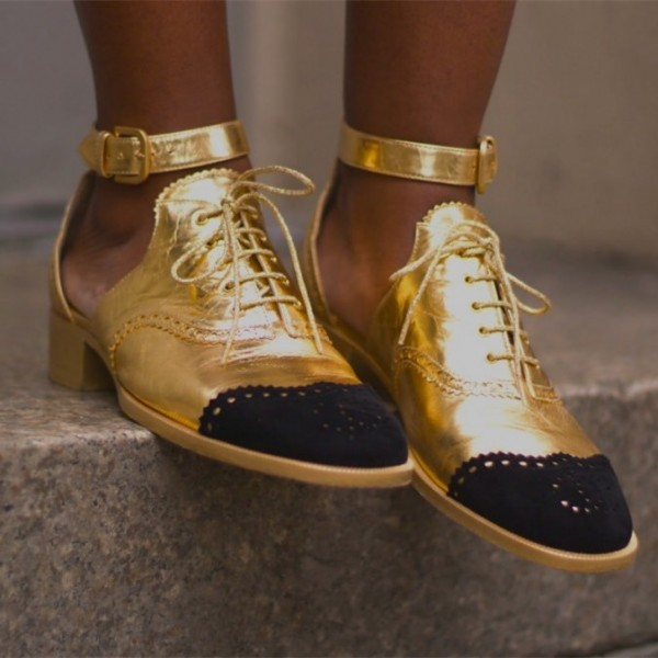 Gold and Black Wingtip Shoes Lace up Ankle Strap Block Heel Oxfords image 2