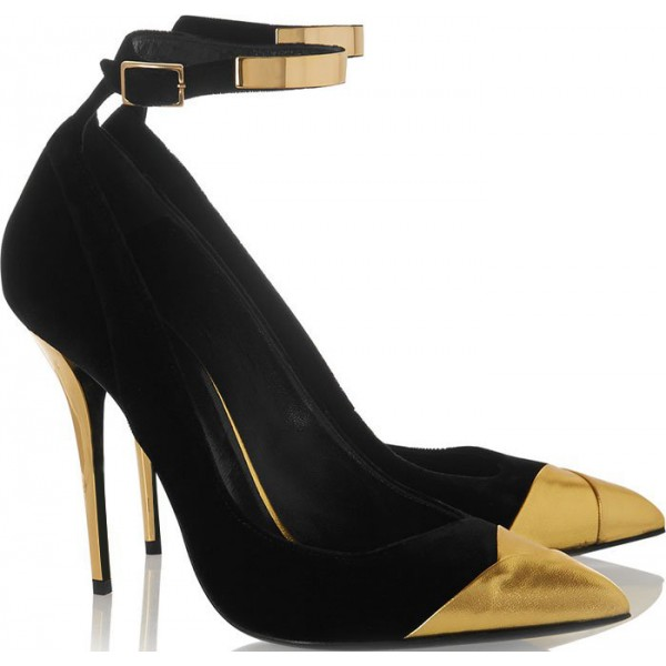 Black and Gold Ankle Strap Heels Stilettos Pumps Metallic Heels image 4