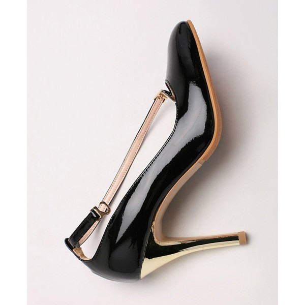 Black and Gold Oiled Vgan Leather Ankle Strap Heels image 5