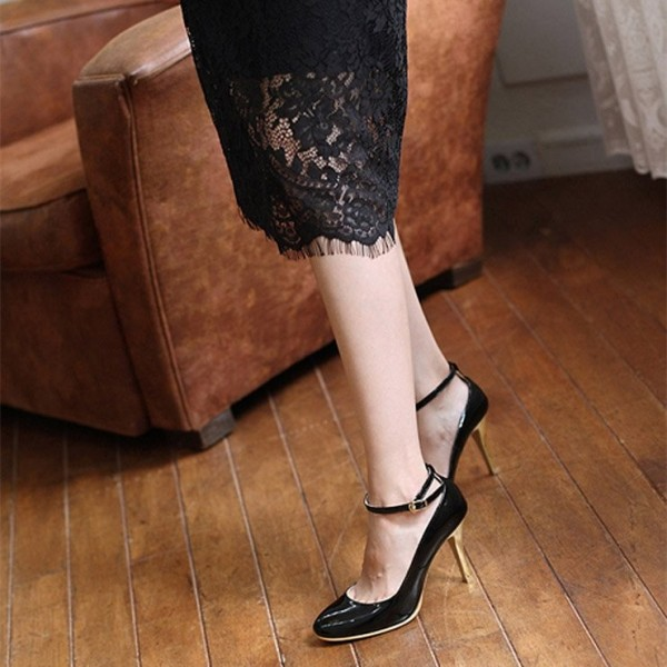 Black and Gold Oiled Vgan Leather Ankle Strap Heels image 3