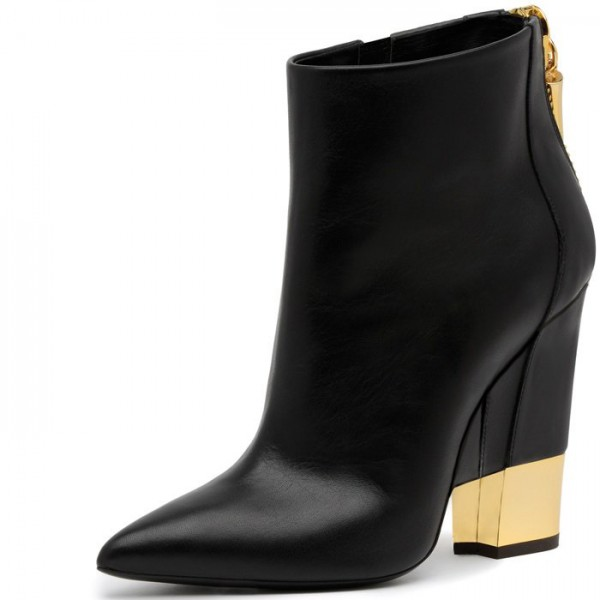 Women's Black Chunky Heels Fashion Boots Pointed Toe Ankle Boots image 1