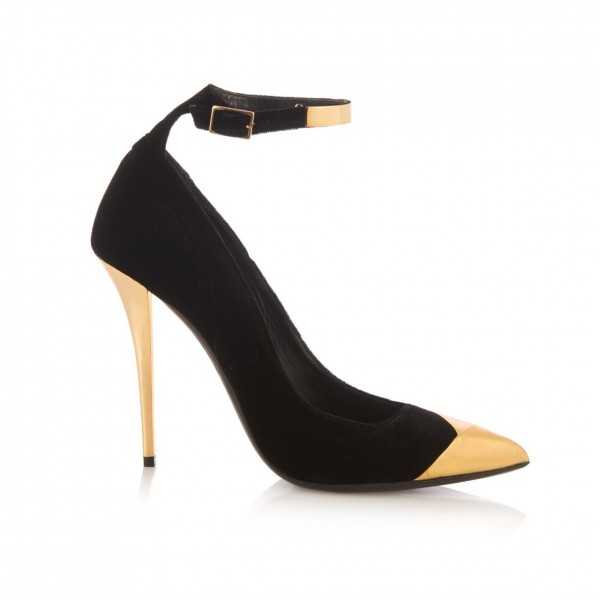 Black and Gold Ankle Strap Heels Pointy Toe Stilettos Pumps image 3