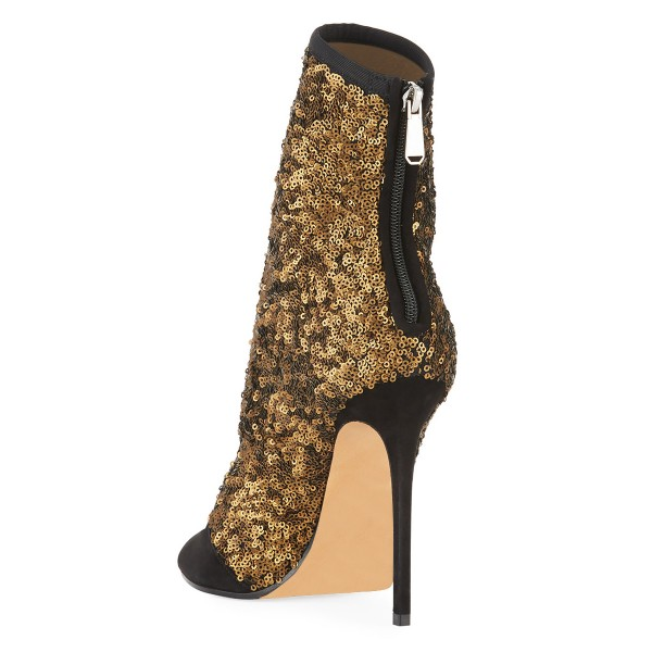 8c95df370 ... Black and Gold Sequin Boots Peep Toe Stiletto Heel Ankle Boots image 2  ...