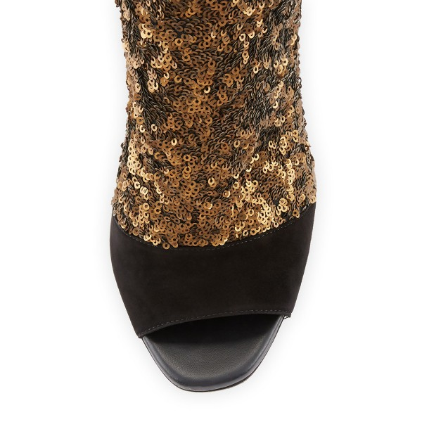 Black and Gold Sequin Boots Peep Toe Stiletto Heel Ankle Boots image 4