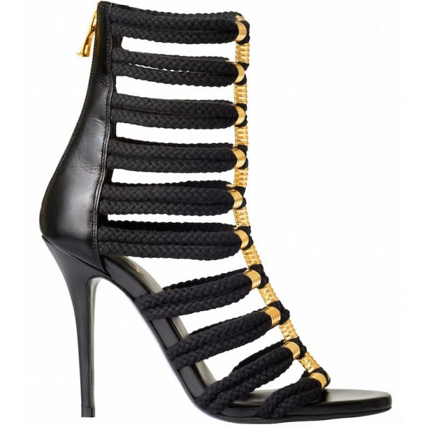 Black and Gold Strappy Sandals Open Toe Stiletto Heels for Sexy Ladies image 3