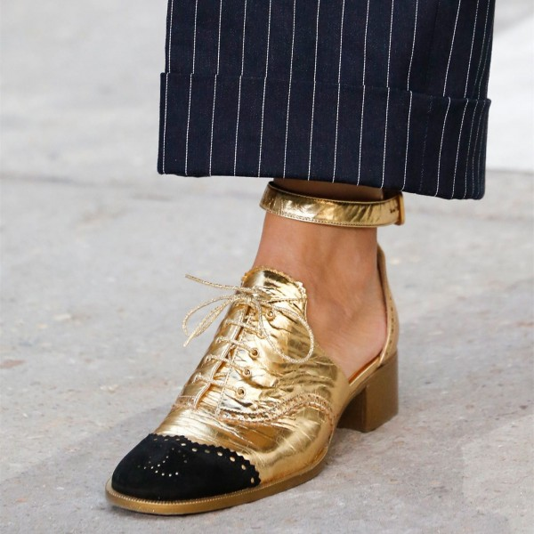 Gold and Black Wingtip Shoes Lace up Ankle Strap Block Heel Oxfords image 3