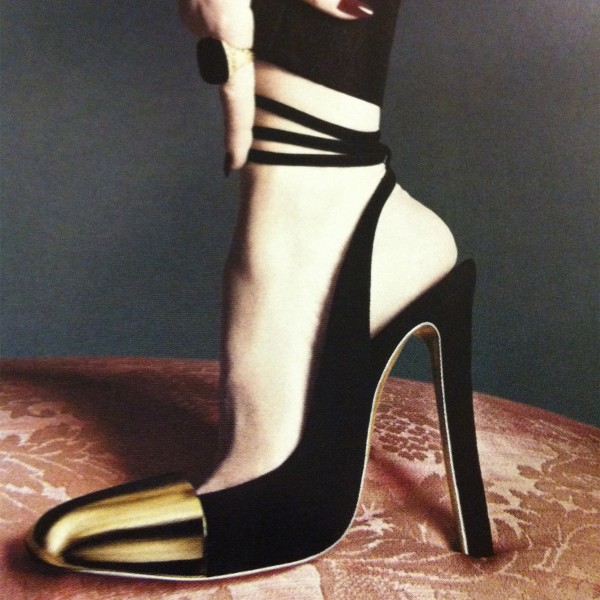 Black and Gold Slingback Pumps Ankle Strappy Chunky Heels image 1