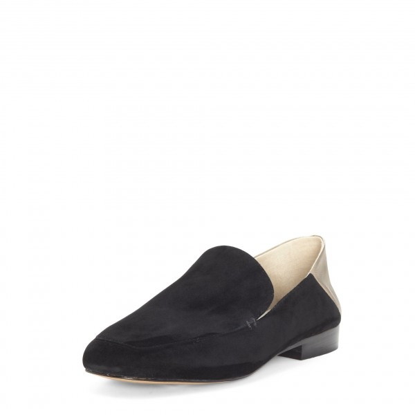 Black and Gold Square Toe Loafers for