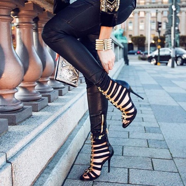 Black and Gold Strappy Sandals Open Toe Stiletto Heels for Sexy Ladies image 2