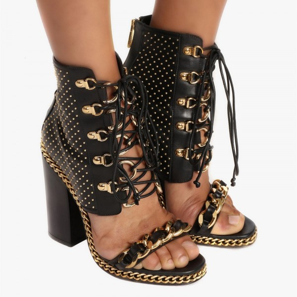 Black Chain and Studs Chunky Heel Sandals Metal Lace up Sandals image 5