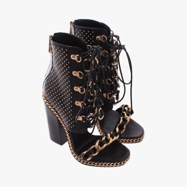 Black Chain and Studs Chunky Heel Sandals Metal Lace up Sandals image 4
