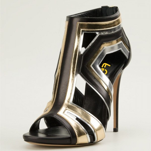 Gold and Silver Stiletto Heels Open Toe Cutout Sandals For Women image 1