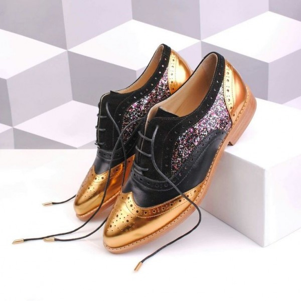 Black and Gold Two Tone Wingtip Glitter Women's Oxfords Lace up Flats image 1
