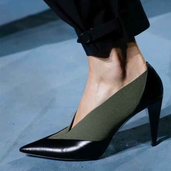 Black and Green 3 inch Heels Pointy Toe Fashion Cone Heels Pumps image 1