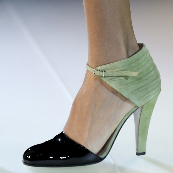4f5151140329de Black and Green Round Toe Chunky Heels Ankle Strap Pumps Sexy Shoes image 1  ...