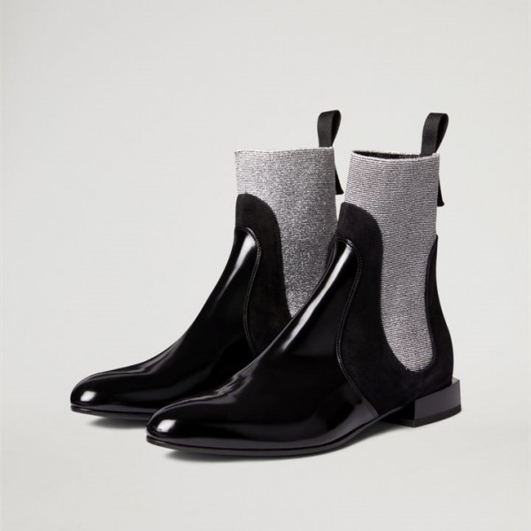 Black and Grey Chelsea Boots Flat Ankle Boots image 1