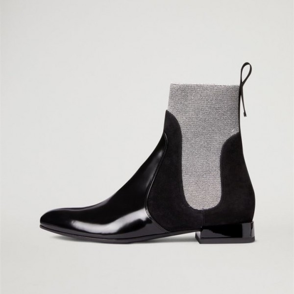 Black and Grey Chelsea Boots Flat Ankle Boots image 3