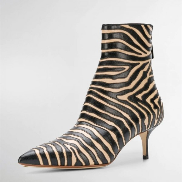 Black and Khaki Zebra Kitten Heel Boots Pointy Toe Ankle Booties image 1