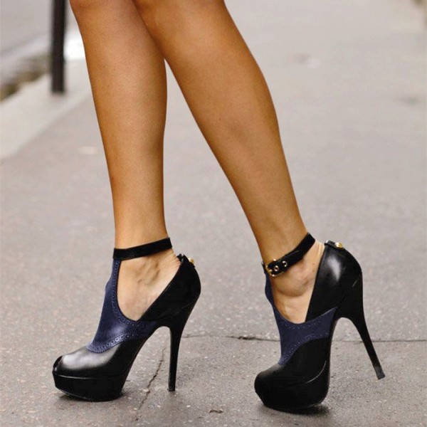 Black and Navy Ankle Strap Stiletto Heel Peep Toe Summer Booties image 1