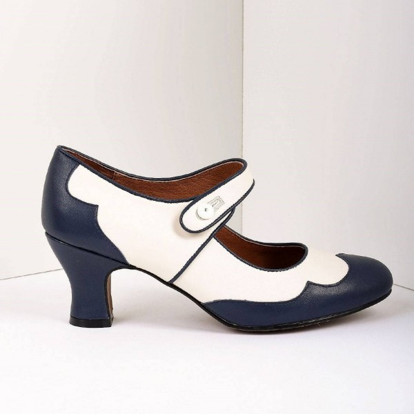 Navy and White Mary Jane Heels Vintage Style Chunky Heel Pumps image 2