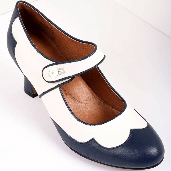 Navy and White Mary Jane Heels Vintage Style Chunky Heel Pumps image 3