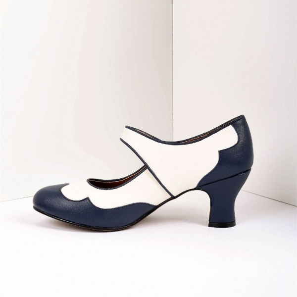 Navy and White Mary Jane Heels Vintage Style Chunky Heel Pumps image 4