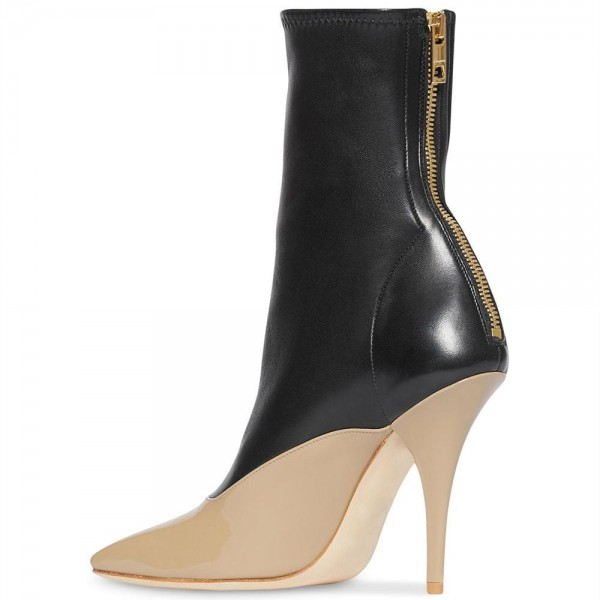 Black and Nude Patent Leather Ankle Booties Cone Heel Boots  image 2