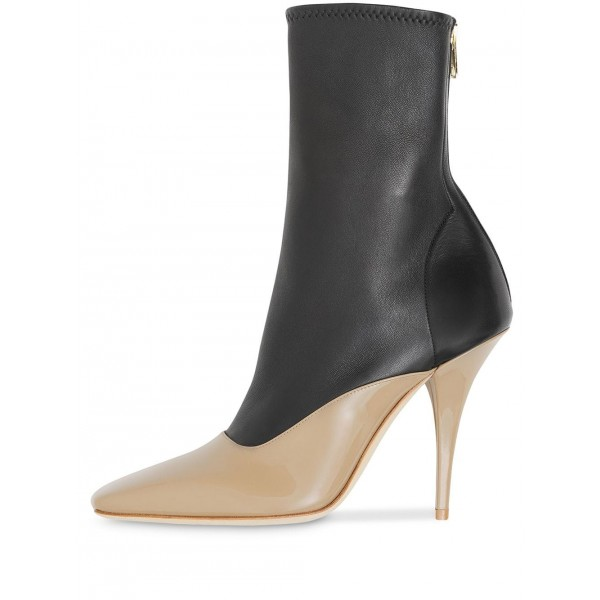 Black and Nude Patent Leather Ankle Booties Cone Heel Boots  image 3