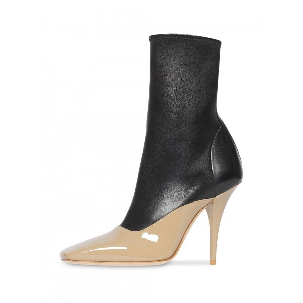 Black and Nude Patent Leather Ankle Booties Cone Heel Boots  image 1