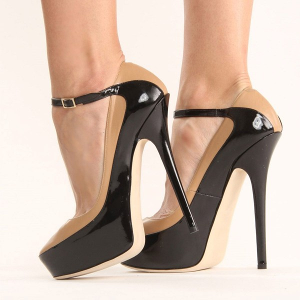 Nude and Black Platform Heels Almond Toe Ankle Strap Pumps image 5