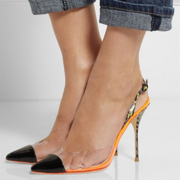 Black and Orange Leopard Print Heels Pointy Toe Clear Slingback Pumps image 1