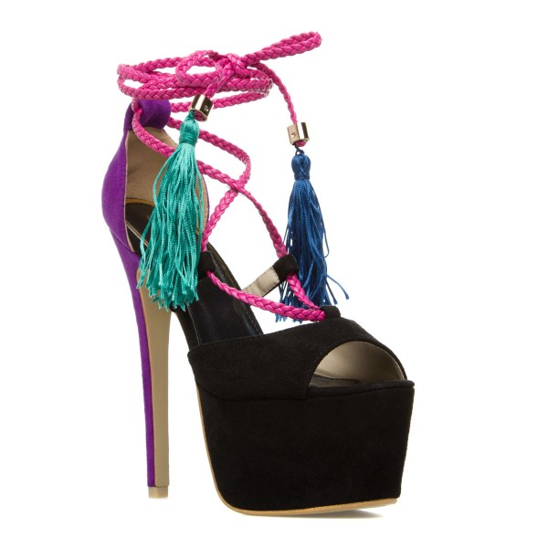 Black and Purple Tassel Sandals Peep Toe Strappy Platform High Heels image 4