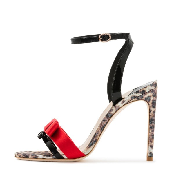 Black and Red Bow Leopard Print Ankle Strap Slingback Heels Sandals image 2